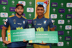Dillon du Preez of the VKB Knights with Patrick Kruger of the VKB Knights during the T20 Challenge cricket match between the Hollywoodbets Dolphins and VKB Knights  at the Kingsmead stadium in Durban, KwaZulu Natal, South Africa on the 11 Dec 2016<br /> <br /> Photo by:   Steve Haag / Real Time Images