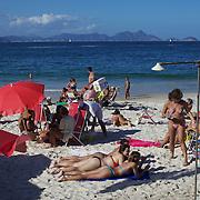 A beach scene at Copacabana beach, Rio de Janeiro,  Brazil. 4th July 2010. Photo Tim Clayton..