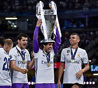 Isco of Real Madrid and his team mates celebrate the winning of the Champions League during the UEFA Champions League Final match between Real Madrid and Juventus at the National Stadium of Wales, Cardiff, Wales on 3 June 2017. Photo by Giuseppe Maffia.<br /> <br /> Giuseppe Maffia/UK Sports Pics Ltd/Alterphotos
