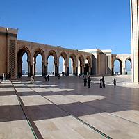 North Africa, Morocco, Casablanca. Hassan II Mosque courtyard.