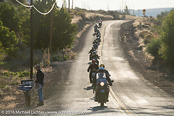 John Landstrom riding his 1928 BMW R62 at the head of a pack of Cannonballers during stage 16 (142 miles) of the Motorcycle Cannonball Cross-Country Endurance Run, which on this day ran from Yakima to Tacoma, WA, USA. Sunday, September 21, 2014.  Photography ©2014 Michael Lichter.