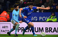 Harry Maguire of Leicester city holds off Ilkay Gundogan of Manchester City .Carabao Cup quarter final match, Leicester City v Manchester City at the King Power Stadium in Leicester, Leicestershire on Tuesday 19th December 2017.<br /> pic by Bradley Collyer, Andrew Orchard sports photography.
