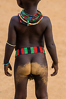 Dirty bottom of a Hamer tribe girl toddler, Omo Valley, Ethiopia.