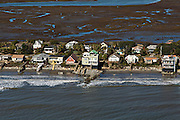 Aerial of waterfront homes on Folly Beach, South Carolina.