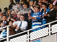 Photo: Kevin Poolman.<br />Reading v Derby County. Coca Cola Championship. 01/04/2006. Steve Coppell and Graeme Murty spray the Champagne.