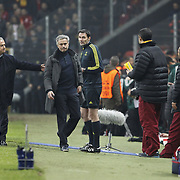 Galatasaray's coach Fatih Terim (R) and Real Madrid's coach Jose Mourinho (C) during their UEFA Champions League Quarter-finals, Second leg match Galatasaray between Real Madrid at the TT Arena AliSamiYen Spor Kompleksi in Istanbul, Turkey on Tuesday 09 April 2013. Photo by Aykut AKICI/TURKPIX