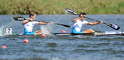 LOVRO LEBAN & ROK KUK (BOTH SLOVENIA) COMPETE IN MEN'S K2 500 METERS QUALIFICATION RACE DURING 2010 ICF KAYAK SPRINT WORLD CHAMPIONSHIPS ON MALTA LAKE IN POZNAN, POLAND...POLAND , POZNAN , AUGUST 20, 2010..( PHOTO BY ADAM NURKIEWICZ / MEDIASPORT ).