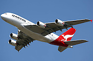 PERTH, AUSTRALIA - OCTOBER 14:  The new Qantas A380 departs from Perth for the first time following it's arrival in Australia on September 21, at the Perth International Airport on October 14, 2008 in Perth, Australia. The plane was on a promotional trip to the city, which it departed again this afternoon. It is one of the first 20 A380's ordered by Qantas.  (Photo by Paul Kane/Getty Images)