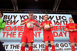 LIVERPOOL, ENGLAND - Monday, May 9, 2016: Liverpool's Philippe Coutinho Correia and captain Jordan Henderson at the launch of the New Balance 2016/17 Liverpool FC kit at a live event in front of supporters at the Royal Liver Building on Liverpool's historic World Heritage waterfront. (Pic by Lexie Lin/Propaganda)