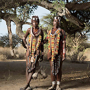 Dobo Wordo and Balo Daina wearing traditional Hamer daily dress.<br />