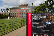 The exterior of Kensington Palace in Kensington Park, on 20th August 2019, in London, England. Kensington Palace is a royal residence set in Kensington Gardens, in the Royal Borough of Kensington and Chelsea in London, England. It has been a residence of the British Royal Family since the 17th century, and is currently the official London residence of the Duke and Duchess of Cambridge, Princess Eugenie and her husband Jack Brooksbank, the Duke and Duchess of Gloucester, the Duke and Duchess of Kent, and Prince and Princess Michael of Kent.