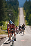Matt Gallo of Healdsburg, California pedals furiously up the hill at the intersection of Dodd Road and Rimrock Road in Hayden on Sunday afternoon...
