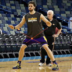 April 24, 2011; New Orleans, LA, USA; Los Angeles Lakers power forward Pau Gasol (16) prior to tip of game four of the first round of the 2011 NBA playoffs against the New Orleans Hornets at the New Orleans Arena.    Mandatory Credit: Derick E. Hingle