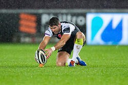 James Hook of Ospreys lines up a kick at goal<br /> <br /> Photographer Simon King/Replay Images<br /> <br /> Guinness PRO14 Round 6 - Ospreys v Southern Kings - Saturday 9th November 2019 - Liberty Stadium - Swansea<br /> <br /> World Copyright © Replay Images . All rights reserved. info@replayimages.co.uk - http://replayimages.co.uk