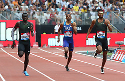 July 21, 2018 - London, United Kingdom - L-R Abdalleleh Haroun of Qatar Nathan Strother of USA and Abderrahman Samba of Qatar compete in the 400m Men  during the Muller Anniversary Games IAAF Diamond League Day One at The London Stadium on July 21, 2018 in London, England. (Credit Image: © Action Foto Sport/NurPhoto via ZUMA Press)