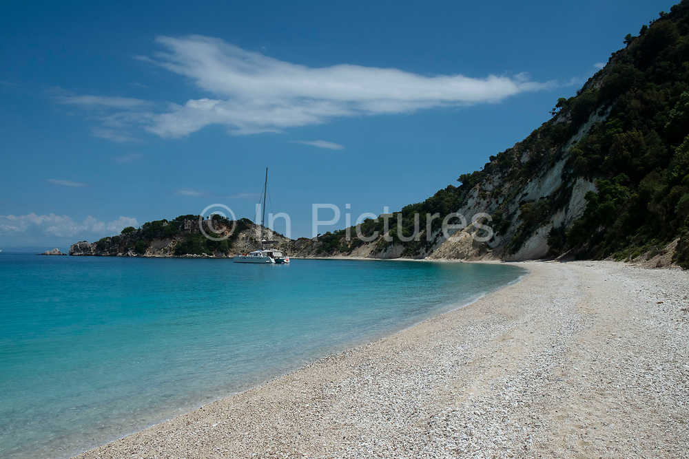 Gidaki beach near Vathy, Ithaca, Greece. Ithaca, Ithaki or Ithaka is a Greek island located in the Ionian Sea to the west of continental Greece. Ithacas main island has an area of 96 square kilometres. It is the second-smallest of seven main Ionian Islands.