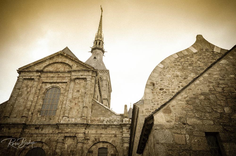 Abbey steeple, Mont Saint-Michel monastery, Normandy, France