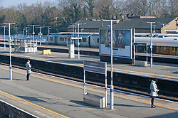 ©Licensed to London News Pictures 26/03/2020<br /> Orpington, UK. Two commuters. Empty station platforms this morning at Orpington train station in Orpington, South East London. The Prime Minister Boris Johnson has asked people to stay at home to help in the fight against Covid-19. Photo credit: Grant Falvey/LNP