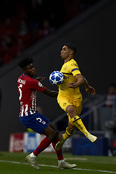 November 6, 2018 - Madrid, Spain - Thomas of Atletico Madrid and Achraf Hakimi of Borussia Dortmund battle for the ball during the Group A match of the UEFA Champions League between AtleticoLucien Favre of Borussia Dortmund Madrid and Borussia Dortmund at Wanda Metropolitano Stadium, Madrid on November 07 of 2018. (Credit Image: © Jose Breton/NurPhoto via ZUMA Press)