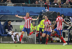 12.05.2010, Hamburg Arena, Hamburg, GER, UEFA Europa League Finale, Atletico Madrid vs Fulham FC im Bild Atletico de Madrid's Diego Forlan celebrates goal.EXPA Pictures © 2010, PhotoCredit: EXPA/ nph/  Alvaro Hernandez / SPORTIDA PHOTO AGENCY