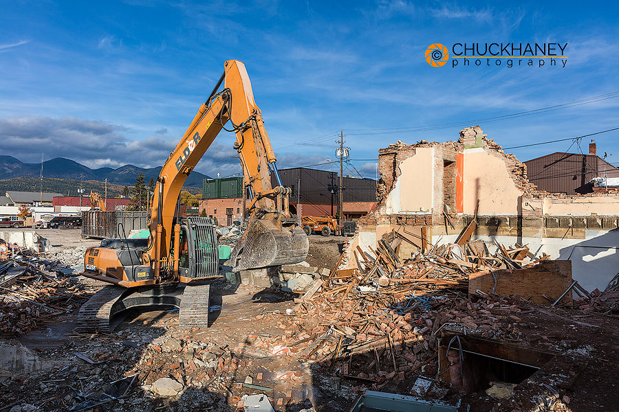 Demolition of old city hall building in 2015 in Whitefish, Montana, USA