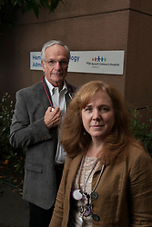 Drs. Elliott Vichinsky, left, and Caroline Hastings of the Pediatric Hematology and Oncology department at UCSF Benioff Children's Hospital Oakland pose for a photograph at their office, Thursday, June 8, 2017 in Oakland, Calif. (Photo by D. Ross Cameron)