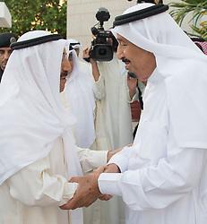 King Salman Bin Abdelaziz Al Saud (right) receives Emir of Kuwait Sabah Al Ahmad Al Sabah in Jeddah, Saudi Arabia, on June 6, 2017 in talks to solve issue between Saudi Arabia and allies and Qatar. Photo by Balkis Press/ABACAPRESS.COM