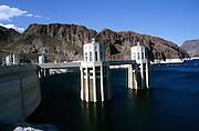 Intake towers,  Hoover dam on the Colorado River, Nevada and Arizona border, USA