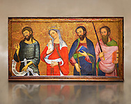 Painted Gothic panels from the Altarpiece of the Virgin of the Angels.<br /> From Left - San John the Baptist, Santa Mary Magdele, St. James the Less, St. Paul.Tempera and gold leaf on wood, circa 1385 by by Pere Serra  from the Cathedral of Tortosa (Tarragona). Inv MNAC 3950, 3948, 3949. National Museum of Catalan Art (MNAC), Barcelona, Spain .<br /> <br /> If you prefer you can also buy from our ALAMY PHOTO LIBRARY  Collection visit : https://www.alamy.com/portfolio/paul-williams-funkystock/romanesque-art-antiquities.html<br /> Type -     MNAC     - into the LOWER SEARCH WITHIN GALLERY box. Refine search by adding background colour, place, subject etc<br /> <br /> Visit our ROMANESQUE ART PHOTO COLLECTION for more   photos  to download or buy as prints https://funkystock.photoshelter.com/gallery-collection/Medieval-Romanesque-Art-Antiquities-Historic-Sites-Pictures-Images-of/C0000uYGQT94tY_Y