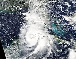 October 8, 2018 - Cuba - The MODIS instrument aboard NASA's Aqua satellite captured a visible image of Hurricane Michael when it was a Category 1 hurricane near the western tip of Cuba. (Credit Image: © MODIS/ZUMA Wire/ZUMAPRESS.com)