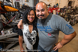 Rene Chavez at Bill Dodge's Blings Cycle shop during Biketoberfest. Daytona Beach, FL, USA. Friday October 20, 2017. Photography ©2017 Michael Lichter.