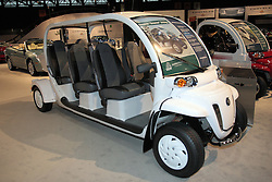 11 February 2009: 2009 GEM e6, manufactured by GEM and powered by a 72 volt Shunt GE motor.  This vehicle is part of the green movement to find alternative fuels for vehicles and it runs solely on electricity provided by batteries. This is a 6 passenger vehicle. The Chicago Auto Show is a charity event of the Chicago Automobile Trade Association (CATA) and is held annually at McCormick Place in Chicago Illinois