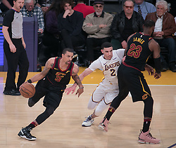 March 11, 2018 - Los Angeles, California, U.S - Corey Brewer #3 of the Cleveland Cavaliers drives on the screen set by LeBron James #23 against Lonzo Ball #2 of the Los Angeles Lakers during their NBA game on Sunday March 11, 2018 at the Staples Center in Los Angeles, California. Lakers defeat Cavaliers, 127-113. (Credit Image: © Prensa Internacional via ZUMA Wire)