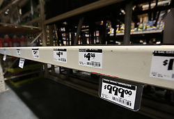 The shelves are bare where the generators are displayed at The Home Depot in Lady Lake, FL, USA on Tuesday afternoon, September 5, 2017. Buyers are preparing for Hurricane Irma. The store was out of generators and water early Tuesday. Photo by Stephen M. Dowell/Orlando Sentinel/TNS/ABACAPRESS.COM