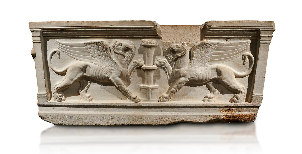 Roman relief sculpted sarcophagus of Achilles from Attica. This side shows two griffin and  bears characteristics of the Late Antonines Period of the Roman Imperial Period between 170-190 AD. Adana Archaeology Museum, Turkey.. Against a white background .<br /> <br /> If you prefer to buy from our ALAMY STOCK LIBRARY page at https://www.alamy.com/portfolio/paul-williams-funkystock/greco-roman-sculptures.html . Type -    Adana     - into LOWER SEARCH WITHIN GALLERY box - Refine search by adding a subject, place, background colour, museum etc.<br /> <br /> Visit our ROMAN WORLD PHOTO COLLECTIONS for more photos to download or buy as wall art prints https://funkystock.photoshelter.com/gallery-collection/The-Romans-Art-Artefacts-Antiquities-Historic-Sites-Pictures-Images/C0000r2uLJJo9_s0