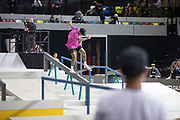 Nyjah Huston, USA, during the men's final of the Street League Skateboarding World Tour Event at Queen Elizabeth Olympic Park on 26th May 2019 in London in the United Kingdom. Nyjah Imani Huston is an American professional skateboarder, this was his 5th win at the Street League Series. He has also won 8 Summer X-Games gold medals. Huston is the highest paid skateboarder in the world.