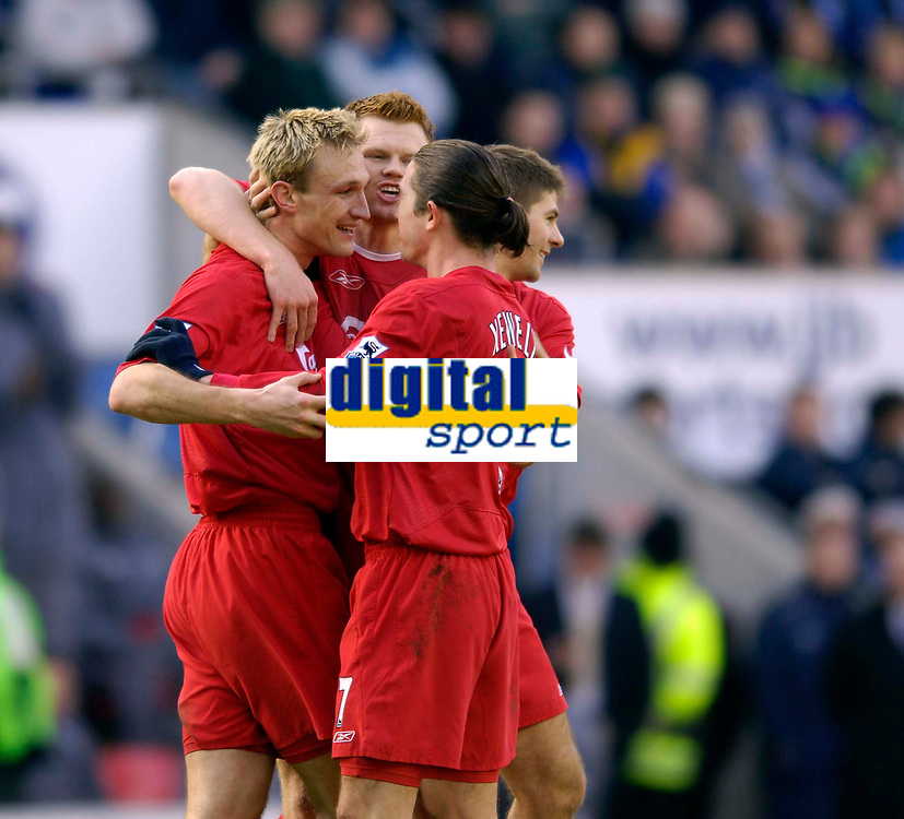 Photo: Jed Wee.<br />Wigan Athletic v Liverpool. The Barclays Premiership. 11/02/2006.<br />Liverpool celebrate with goalscorer Sami Hyypia (L).