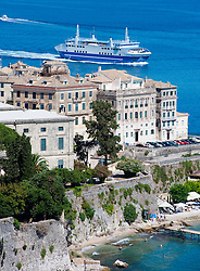 Detail of Kerkyra Town with passenger ferry on Corfu Island in Greece