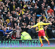 Matej Vydra celebrates his goal during the Sky Bet Championship match between Brighton and Hove Albion and Watford at the American Express Community Stadium, Brighton and Hove, England on 25 April 2015.