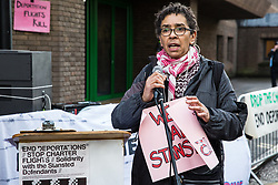Chelmsford, UK. 6th February, 2019. A speaker from the All African Women's Group addresses activists from around the UK gathered to show solidarity with the Stansted 15 before their sentencing at Chelmsford Crown Court. The Stansted 15 were convicted on 10th December of an anti-terrorism offence under the Aviation and Maritime Security Act 1990 following non-violent direct action to try to prevent a Home Office deportation flight carrying precarious migrants to Nigeria, Ghana and Sierra Leone from taking off from Stansted airport in March 2017.