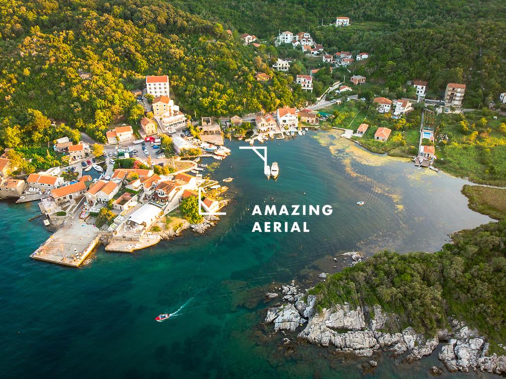 Aerial view of Bjelila, Lustica Bay, Montenegro