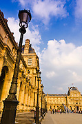 Lamp posts and courtyard at the Louvre Palace, Louvre Museum, Paris, France