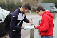 AFC Wimbledon defender Jon Meades (3) signing autograph for players during the EFL Sky Bet League 1 match between AFC Wimbledon and Blackpool at the Cherry Red Records Stadium, Kingston, England on 20 January 2018. Photo by Matthew Redman.