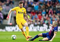 FC Barcelona's Andres Iniesta (r) and Atletico de Madrid's Saul Niguez during La Liga match. March 4,2018. (ALTERPHOTOS/Acero)