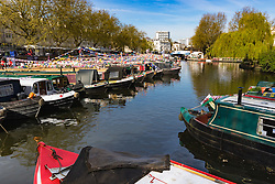 Little Venice, London, May 1 2016. Bright sunshine greets narrow boaters at the Inland Waterways Association's annual Canalway Cavalcade, a get-together of narrow boaters from all over the UK, on the May Day bank Holiday. ©Paul Davey<br /> FOR LICENCING CONTACT: Paul Davey +44 (0) 7966 016 296 paul@pauldaveycreative.co.uk