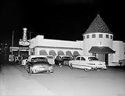 """ackroyd_04239-19. """"Bruers Tower. 9656 SW Barbur. April 3, 1953""""  (night exterior)"""