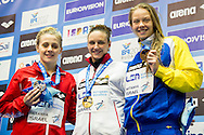 HOSSZU Katinka HUN Gold Medal CR<br /> O'CONNOR Siobhan-Marie GBR Silver Medal<br /> HANSSON Louise SWE Bronze medal<br /> 200m Medley Women Final<br /> Netanya, Israel, Wingate Institute<br /> LEN European Short Course Swimming Championships Dec. 2 - 6, 2015 Day04 Dec.05<br /> Nuoto Campionati Europei di nuoto in vasca corta<br /> Photo Giorgio Scala/Deepbluemedia/Insidefoto
