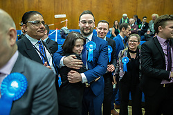 © Licensed to London News Pictures . 13/12/2019. Bury, UK. CHRISTIAN WAKEFORD celebrates the Conservative Party's win in Bury South , at the count for seats in the constituencies of Bury North and Bury South in the 2019 UK General Election , at Castle Leisure Centre in Bury . Photo credit: Joel Goodman/LNP