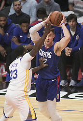 January 6, 2018 - Los Angeles, California, U.S - Blake Griffin #32 of the Los Angeles Clippers looks to pass the ball during their NBA game with the Golden State Warriors on Saturday January 6, 2018 at the Staples Center in Los Angeles, California. Clippers vs Warriors. (Credit Image: © Prensa Internacional via ZUMA Wire)