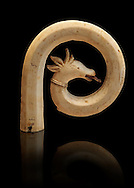 Medieval Bouquetin goats horn ivory crosier with traces of paint, circa 12th century from the south of Italy. Inv OA 11150, The Louvre Museum, Paris. .<br /> <br /> If you prefer you can also buy from our ALAMY PHOTO LIBRARY  Collection visit : https://www.alamy.com/portfolio/paul-williams-funkystock/romanesque-art-antiquities.html . Type-         Ivory      - into the LOWER SEARCH WITHIN GALLERY box. Refine search by adding background colour, place, museum etc<br /> <br />  Visit our MEDIEVAL PHOTO COLLECTIONS for more   photos  to download or buy as prints https://funkystock.photoshelter.com/gallery-collection/Medieval-Romanesque-Art-Antiquities-Historic-Sites-Pictures-Images-of/C0000uYGQT94tY_Y